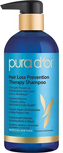 PURA D'OR Hair Loss Prevention Therapy Premium Organic Argan Oil Shampoo, 16 Fluid Ounce
