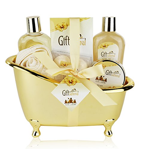 Spa Gift Set Includes Shower Gel, Bubble Bath, Bath Bombs and More! – Spa Gift Basket with Sensual Rose & Jasmine Fragrance – Best Wedding, Anniversary, Birthday or Graduation Gift for Women and Girls
