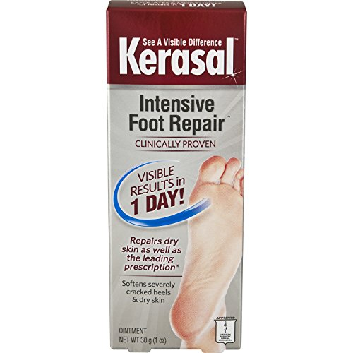 Kerasal Intensive Foot Repair Exfoliating Moisturizer 1oz.  Visible results for dry cracked feet in just 1 day
