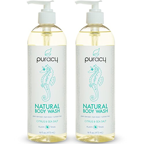 Puracy Natural Body Wash, Sulfate-Free Shower Gel and Daily Cleanser, Citrus and Sea Salt, 16 Ounce Bottle, Pack of 2