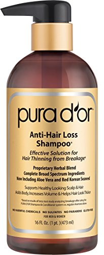 PURA D'OR Anti-Hair Loss Shampoo Gold Label, Effective Solution for Hair Thinning & Breakage, NEW & IMPROVED PUMPS, 16 Fluid Ounce Packaging May Vary