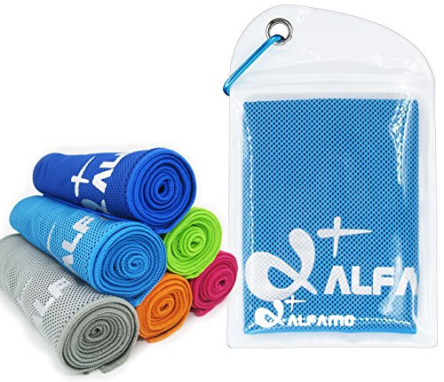 40″ Long As Scarf – Keep Cool for Running Biking Hiking Golf & All Other Sports, Waterproof Bag Packaging with Carabiner – Cooling Towel for Instant Relief – XL Ultra Soft Breathable Mesh Yoga Towel