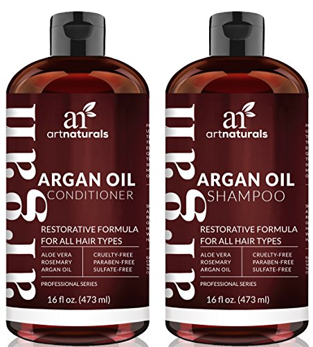 Sulfate Free – Art Naturals Organic Moroccan Argan Oil Shampoo and Conditioner Set 2 x 16 Oz – Volumizing & Moisturizing, Gentle on Curly & Color Treated Hair,For Men & Women Infused with Keratin