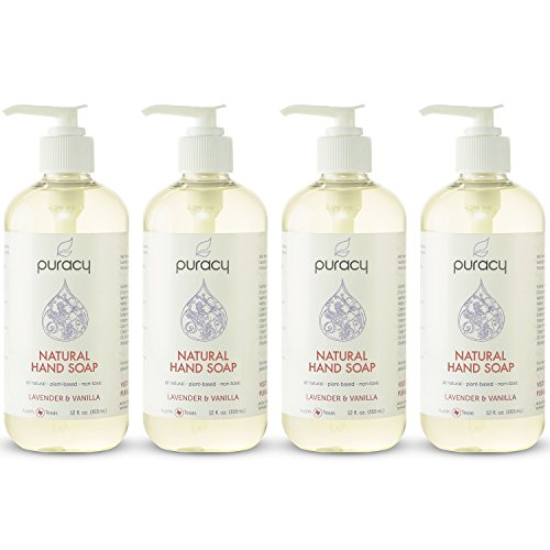 Puracy Natural Liquid Hand Soap, Sulfate-Free Hand Wash, Lavender and Vanilla, 12 Ounce Pump Bottle, Pack of 4