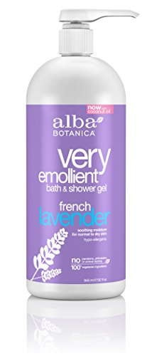 Alba Botanica Very Emollient, French Lavender Bath & Shower Gel, 32 Ounce