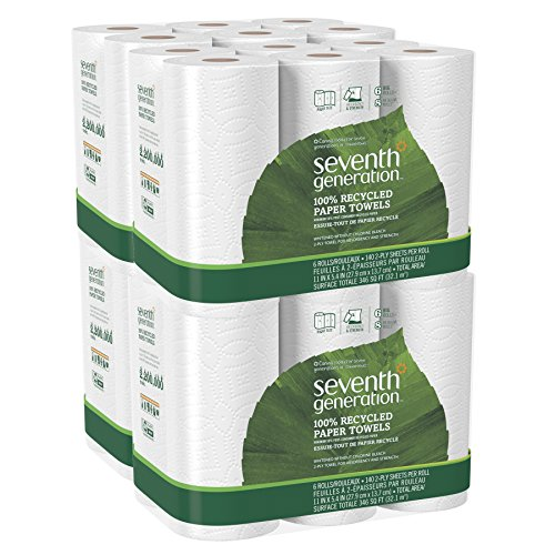 Seventh Generation White Paper Towels, 2-ply, 140-sheet Rolls, 6-Count Pack of 4