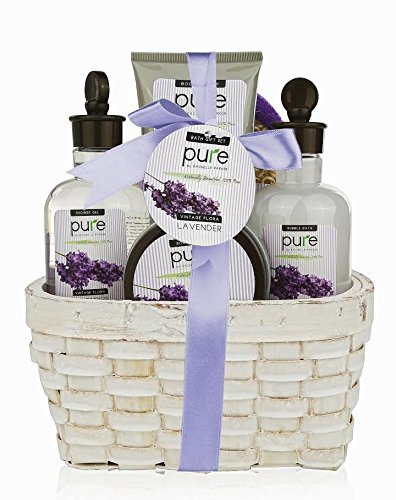 Large Lavender Spa Gift Basket. Spa Gift Basket with Lavender Bubble Bath & Body Lotion etc. Large Spa Basket with Lavender Essential Oils Gift for Women & Teen Gifts.Great birthday gifts for women