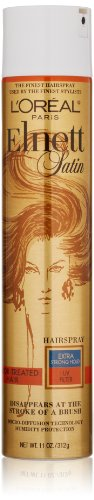 L'Oreal Paris Elnett Satin Hairspray, Extra Strong Hold with UV Filter for Color Treated Hair, 11 oz