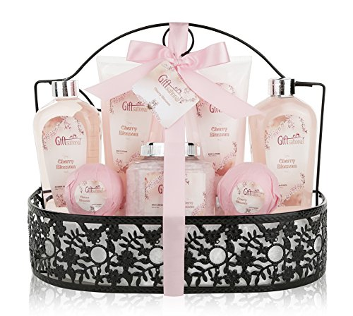 Spa Gift Basket with Heavenly Cherry Blossom Fragrance – Bath Set Includes Shower Gel, Bubble Bath, Bath Salts, Bath Bombs and more! Great Wedding, Anniversary, Birthday or Graduation Gift for Women