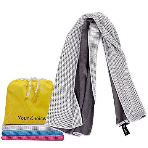 16 X 11 Sweat Towel: Ice Fabric Chilling Towel Gray 16×32 Inch