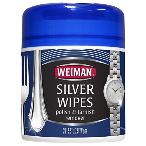 20 count – Weiman Silver Wipes for Cleaning and Polishing Silver Jewelry, Sterling Silver, Silver Plate and Fine Antique Silver