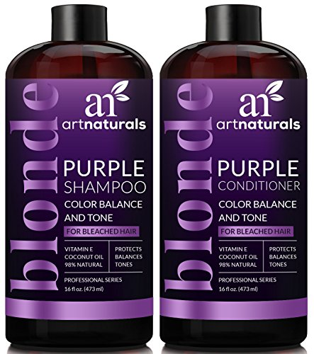 ArtNaturals Purple Shampoo and Conditioner Set – 16 Fl Oz x 2 – Protects, Balances and Tones – Bleached, Color Treated, Silver and Blonde Hair