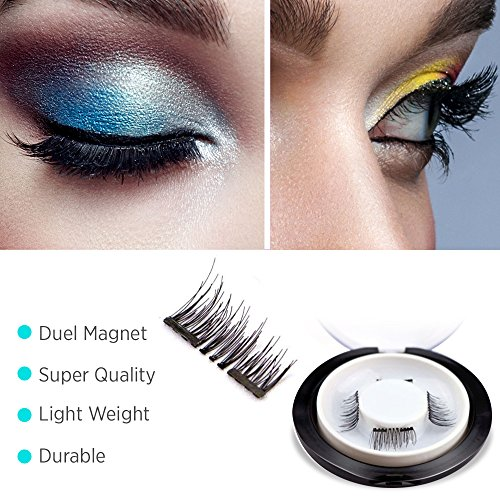 【Upgrade】Glamorous Magnetic False Eyelashes,1 Pair of 4 PCS 0.2mm Ultra Thin Fake Mink Eyelashes for Natural Look Reusable Best Fake Lashes/ Natural Handmade(New double magnets)
