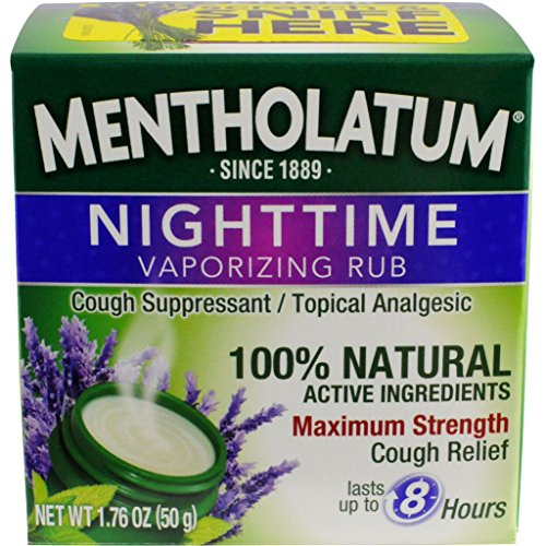 Mentholatum Nighttime Vaporizing Rub with soothing Lavender essence, 1.76 oz. 50 g – 100% Natural Active Ingredients for Maximum Strength Cough Relief