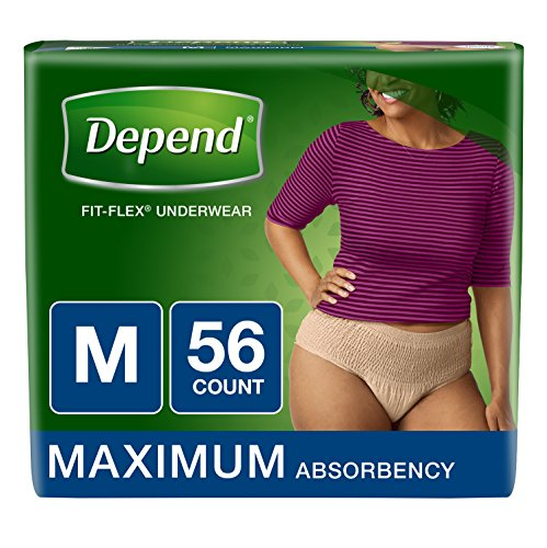 Depend FIT-Flex Incontinence Underwear for Women, Maximum Absorbency, M, Tan, 56 Count Packaging May Vary