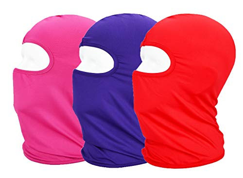 MAYOUTH Balaclava UV Protection Face Masks for Cycling Outdoor Sports Full Face Mask Breathable 3pack Red + Rose Red + Purple 3-Pack