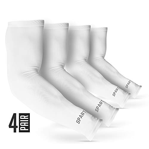SPARTAN X UV Sun Protection Cooling Arm Sleeves-UPF50- Compression Sleeve -Perfect for Men Women Cycling Driving Running Golf Basketball Fishing Tattoo Cover Up – White 4 Pair