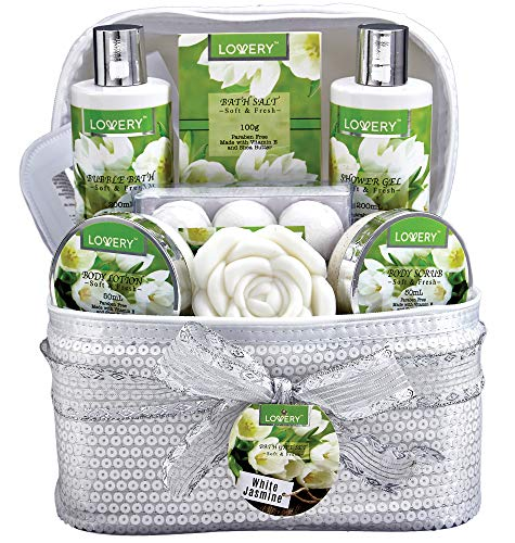 Home Spa Set with 6 Bath Bombs, Body Lotion, Roses Soap, Hand Crafted White Sequined Cosmetics Bag and More – Bath and Body Gift Basket For Women and Men – 14 Piece Set in White Jasmine Scent