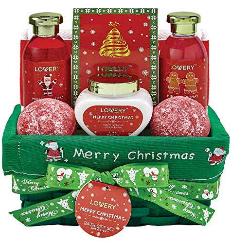 Bath and Body Christmas Gift Basket For Women – Strawberry & Sandalwood Fragrance – Holiday Home Spa Set, Includes Merry Christmas Body Lotion, 2 Oversized Bath Bombs, Bath Salt, Weaved Basket & More