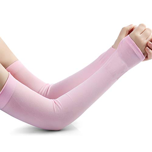 SUNCOOL UV Protection Cooling Arm Sleeves Cover with Thumb Hole for Outdoor Activities 1 Pcs Pink