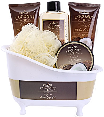 Spa Gift Basket with Refreshing Coconut Fragrance by Draizee-#1 Best Gift for Christmas – Luxury Bath & Body Set Includes 100% Natural Gel's Lotion's & Much More!