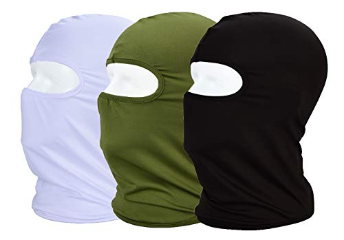 MAYOUTH Balaclava UV Protection Face Masks for Cycling Outdoor Sports Full Face Mask Breathable 3pack Black + White + Army Green 3-Pack