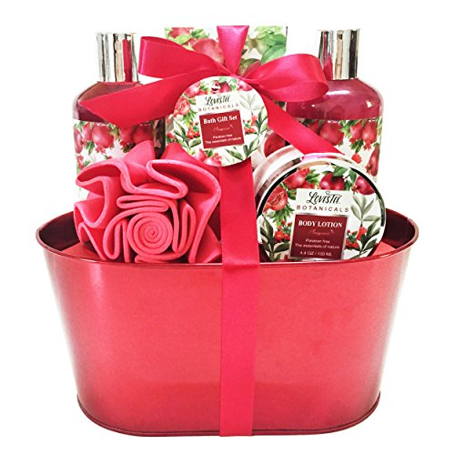 Christmas Bath and Body Gift Set for Women, Aromatherapy Spa Gift Basket with Organic Pomegranate Scent by Lovestee includes Shower Gel, Bubble Bath, Body Lotion, Bath Salt, Sponge