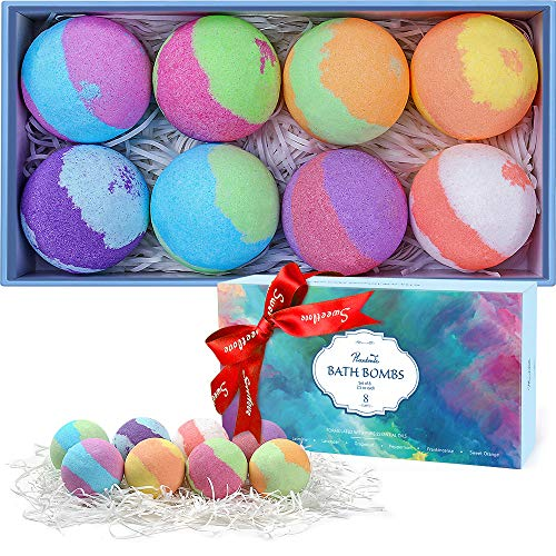 Plantonic Bath Bombs Gift Set, Multi-Colored Vegan Bath Bomb Kit in Luxurious Gift Box with Organic Essential Oils, Exclusive Floating Fizzies with Rich Bubbles 8-Pack
