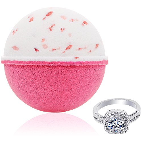 Bath Bomb with Surprise Size Ring Inside Pink Himalayan Sea Salt Extra Large 10 oz. Made in USA