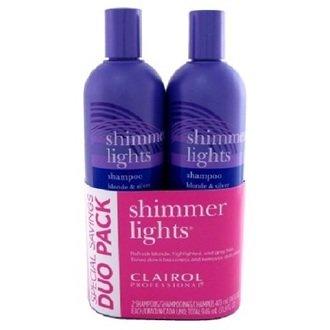 Clairol Shimmer Lights Shampoo 2 bottles of 16 Ounce