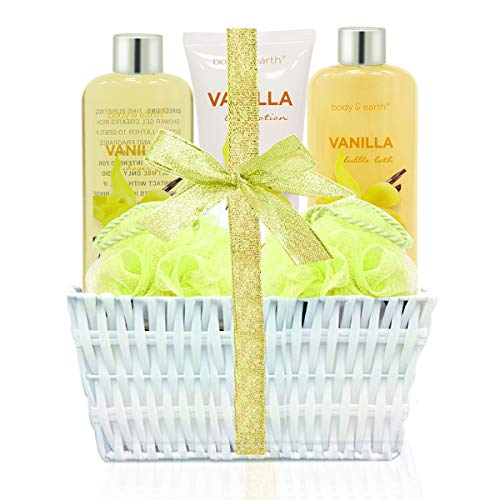 Bath Spa Basket Gift Set, Body&Earth Luxurious 5 Piece Bath and Body Set-French Vinalla Scented Home Spa Basket Contains Body Wash, Bubble Bath, Body Lotion and Bath Sponges, Best Gift Set for Women