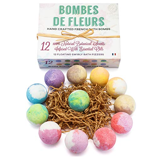 Rose Lavender Mint Chamomile + Shea Butter + Aloe Best Vegan Spa Day Kit Dozen – Fresh Fizzy Floral Essential Oils Scents – French Bath Bombs Best Gift for Women and Girls 12-100% all Natural