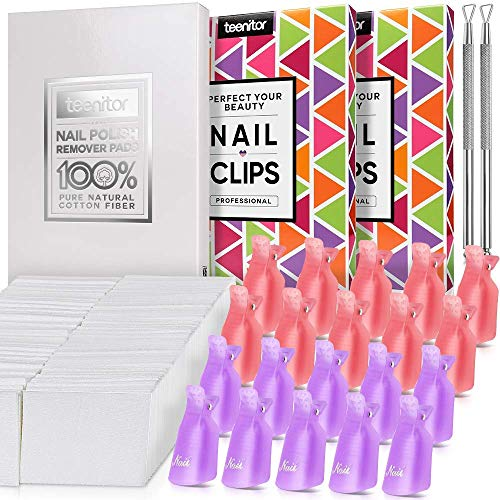 Teenitor Nail Polish Gel Remover Tools with Pack of 20 Acrylic Nail Art Soak Off Clips& 510pcs Lint Free Cotton Pads Nail Wipe & 2pcs Cuticle Pusher Stainless Steel