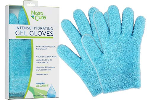 NatraCure Moisturizing Gel Gloves – Colors: Aqua or Lavender – For dry hands, dry skin, dry cuticles, eczema