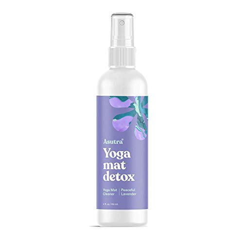 Asutra, 100% Natural and Organic Yoga Mat Cleaner, Safe for All Mats, No Slippery Residue, Cleans, Restores, Refreshes, Free Microfiber Cleaning Towel, Peaceful Lavender Aroma, 4 Oz.
