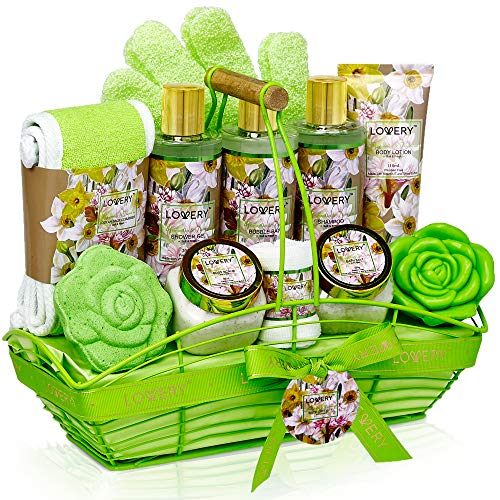 Bath and Body Gift Basket For Women and Men – Magnolia and Jasmine Home Spa Set, Includes Fragrant Lotions, Bath Bomb, Towel, Shower Gloves, Green Wired Bread Basket and More – 13 Piece Set