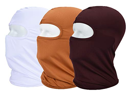 MAYOUTH Balaclava UV Protection Face Masks for Cycling Outdoor Sports Full Face Mask Breathable 3pack Coffice + Sand+ White 3-Pack