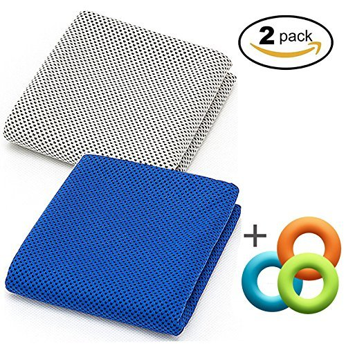 2 Pack Instant Cooling Towel for Hot Relief, 48inch Extra Long Soft Cool Cloth Scarf, Cold Neck Wrap Chilly Towels for Sports, Workout, Fitness, Gym, Yoga, Pilates, Travel, Camping Outdoor Running