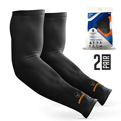 2018 SPARTAN-X PREMIUM Arm Cooling Sun Sleeves UV Protection Compression for Men Women Arms Sleeve Perfect for Tattoo to Cover Golf Running Driving Basketball Cycling Fishing Football- Black 2 Pair