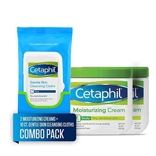 Cetaphil Moisturizing Cream, Two 16-oz. Jars, plus 10-ct. Cetaphil Gentle Skin Cleansing Cloths, Dry, Sensitive Skin Combo Pack
