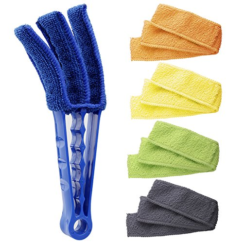 Blind Cleaner Tools for Window Blinds Air Conditioner Jalousie Dust – Hiware Window Blind Cleaner Duster Brush with 5 Microfiber Sleeves