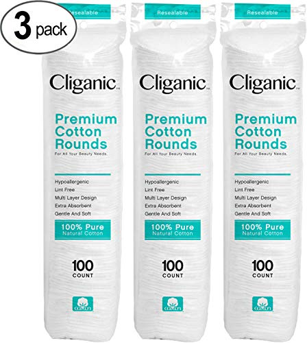 Cliganic Premium Cotton Rounds for Face 300 Count | Makeup Remover Pads, Hypoallergenic, Lint-Free | 100% Pure Cotton