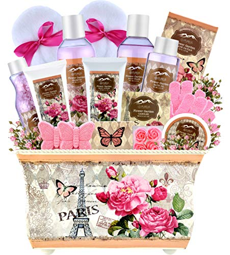 Womens Spa Bath & Body Works Lotion Set. Purelis Natural Spa Baskets for Women Gift The #1 Care Packages for Women! – Spa Gift Baskets for Women – Deluxe Bath Basket Spa Set Gardener Gift Baskets