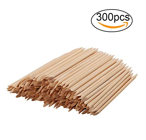 Rocutus 300pcs Nail Art Wood Sticks Cleaning Nail Polish Cuticle Pusher Remover Manicure Tools for Women
