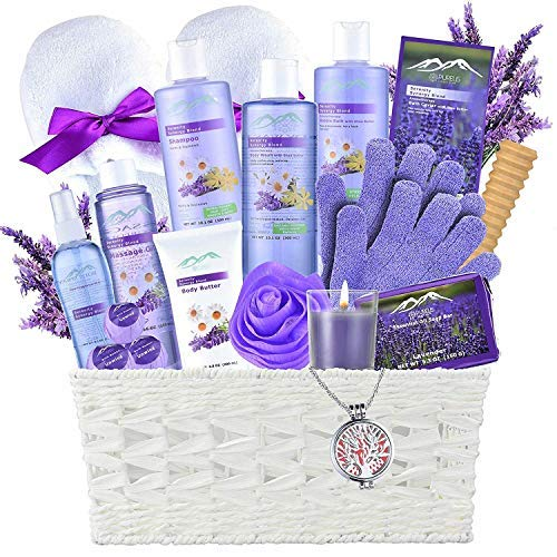 Gift Baskets -the #1 Choice Valentine Gift Ideas – Bath and Body Spa Basket For Women & Men. Lavender Home Spa Set includes 20 Spa Gifts with Essential Oil Necklace!Beauty Baskets-best Holiday Gifts!