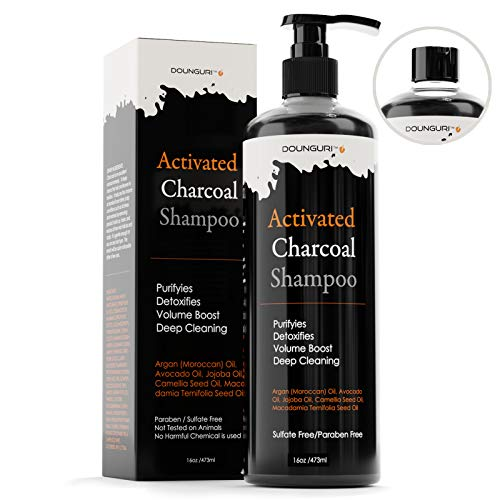 DOUNGURI Sulfate Free Activated Charcoal Shampoo and Conditioner for Clarifying, Detoxifies and Volumizing 16oz – Organic Ingredients : Argan Moroccan, Avocado, Activated Charcoal Shampoo
