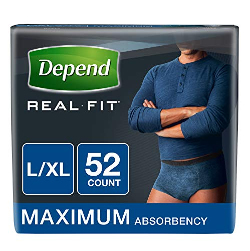 Depend Real Fit Incontinence Underwear for Men, Maximum Absorbency, L/XL, Blue, 52 Count