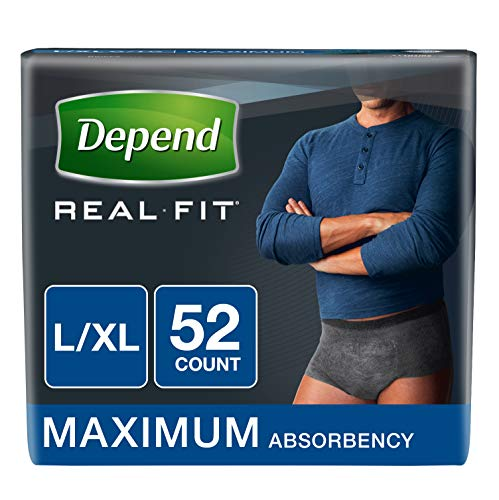 Depend Real Fit Incontinence Underwear for Men, Maximum Absorbency, L/XL, Black, 52 Count