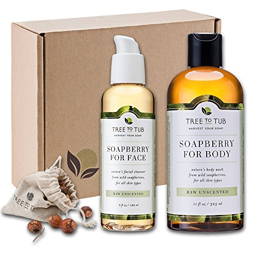 Unscented – SPRING ONLY – Real, Organic Face And Body Bath Set. The Only pH 5.5 Balanced Shower Set For Sensitive Skin. Natural Bath Gift Sets For Women. Comes With Real Wild Soapberries