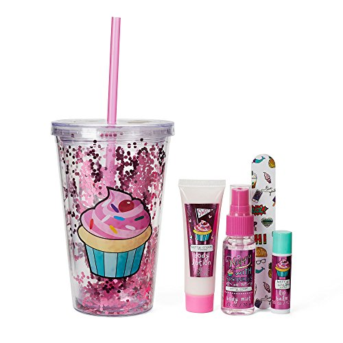 Sweet Like Donuts – 1 Lotion, 1 Nail file, 1 Body Mist, 1 Lip Balm – Perfect Party Favor for Girls – Fun Insulated Kids Cup Kids Tumbler Gift Set